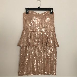 Dresses & Skirts - Strapless Sequined Peplum Dress